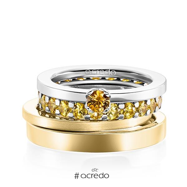 Set in Weißgold 585 mit zus. 2,32 ct. Brillant Saphir Gelb (A 8) von acredo