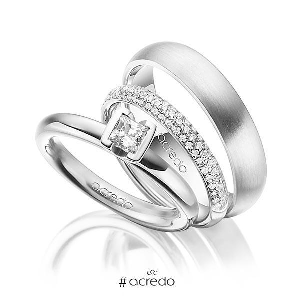 Set in Weißgold 750 mit 0,4 ct. + zus. 0,38 ct. Prinzess-Diamant & Brillant tw, vs tw, si von acredo