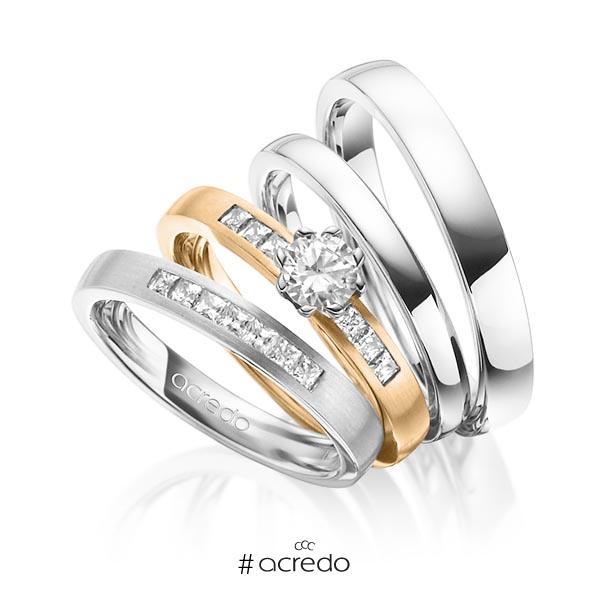 Set in Weißgold 750 mit 0,4 ct. + zus. 0,39 ct. Prinzess-Diamant & Brillant tw, si tw, vs von acredo