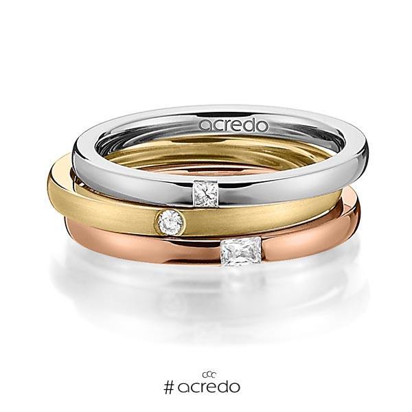 Set in Weißgold 750 mit zus. 0,125 ct. Prinzess-Diamant & Brillant & Baguette-Diamant tw, si tw, vs von acredo