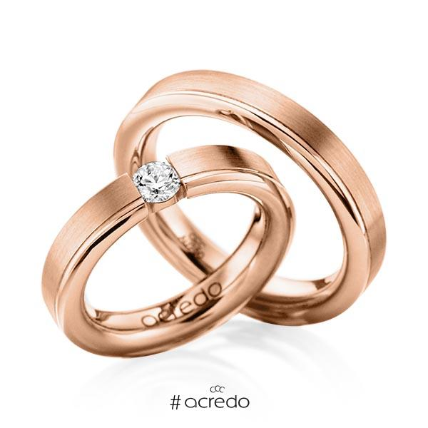 Trauringe Rotgold 585 mit 0,3 ct. G VS