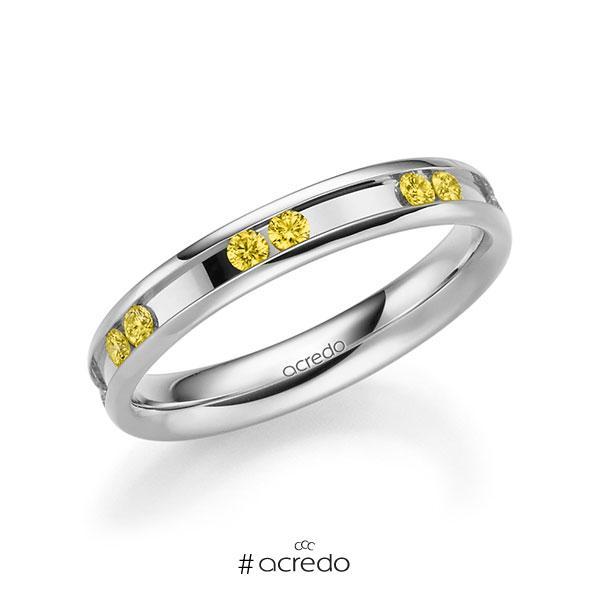 Trauringe Weißgold 585 mit 0,42 ct. Canary Yellow