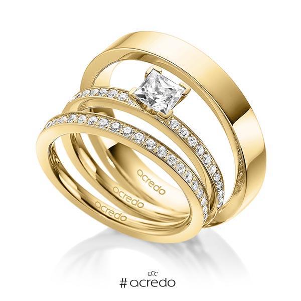 Tri-Set in Gelbgold 585 mit 0,5 ct. + zus. 0,42 ct. Prinzess-Diamant & Brillant tw, vs tw, si von acredo