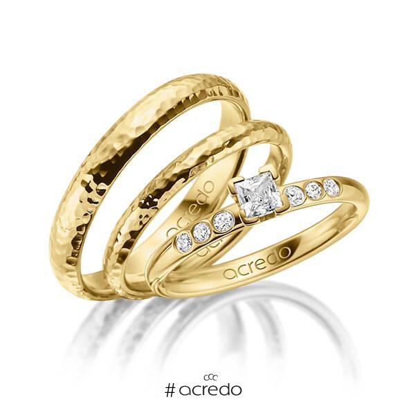 Tri-Set in Gelbgold 585 mit zus. 0,32 ct. Prinzess-Diamant tw, vs tw, si von acredo