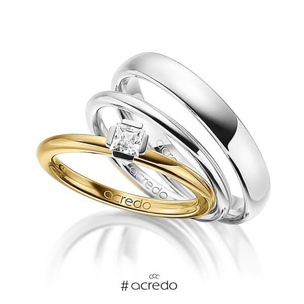 Tri-Set in Gelbgold 585 Weißgold 585 mit zus. 0,25 ct. Prinzess-Diamant tw, si von acredo