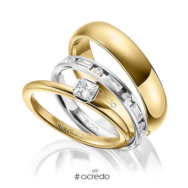 Tri-Set in Gelbgold 750 Weißgold 750 mit zus. 1,015 ct. Prinzess-Diamant & Brillant & Baguette-Diamant tw, si tw, vs von acredo