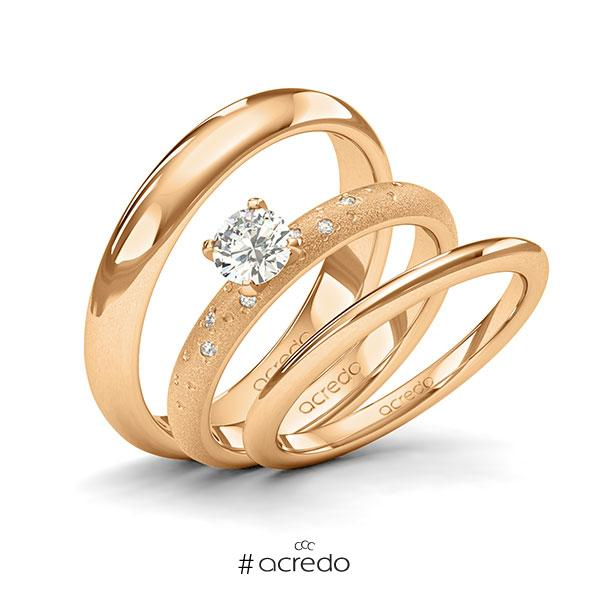 Tri-Set in Roségold 585 mit 0,4 ct. + zus. 0,03 ct. Brillant tw, si von acredo