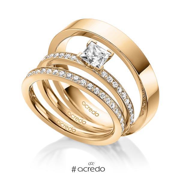 Tri-Set in Roségold 585 mit 0,5 ct. + zus. 0,42 ct. Prinzess-Diamant & Brillant tw, vs tw, si von acredo