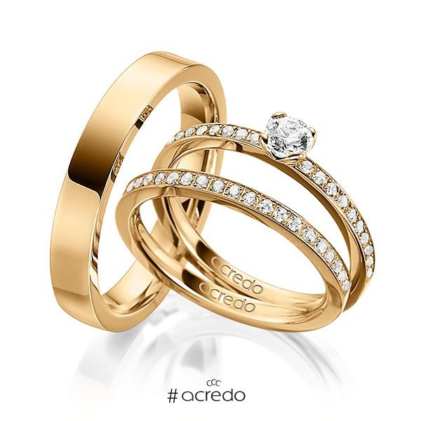 Tri-Set in Roségold 750 mit 0,3 ct. + zus. 0,42 ct. Brillant tw, si von acredo
