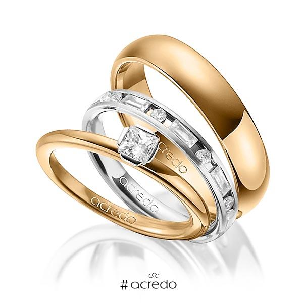 Tri-Set in Roségold 750 Weißgold 750 mit zus. 1,015 ct. Prinzess-Diamant & Brillant & Baguette-Diamant tw, si tw, vs von acredo