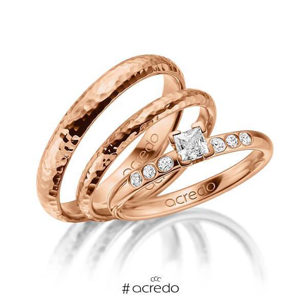 Tri-Set in Rotgold 585 mit zus. 0,32 ct. Prinzess-Diamant tw, vs tw, si von acredo