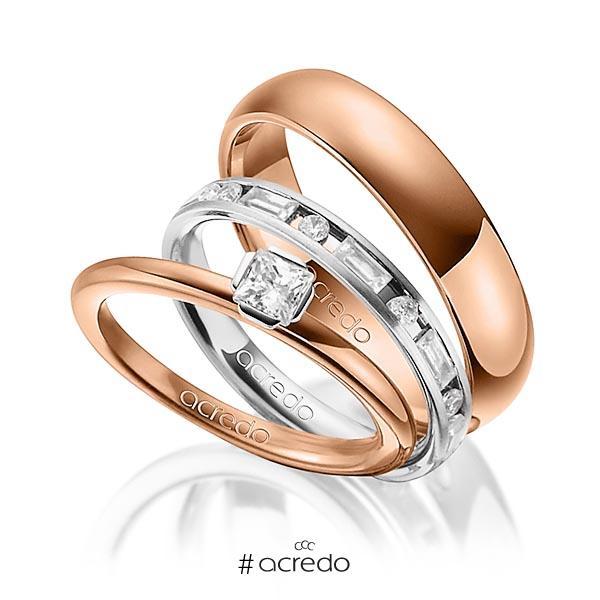 Tri-Set in Rotgold 750 Weißgold 750 mit zus. 1,015 ct. Prinzess-Diamant & Brillant & Baguette-Diamant tw, si tw, vs von acredo