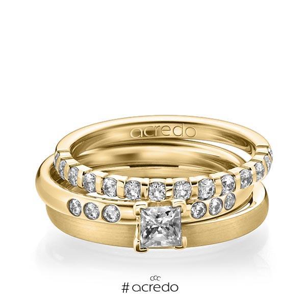 Triset in Gelbgold 585 halbausgefasst mit 0,4 ct. + zus. 0,42 ct. Brillant & Prinzess-Diamant tw, vs tw, si von acredo