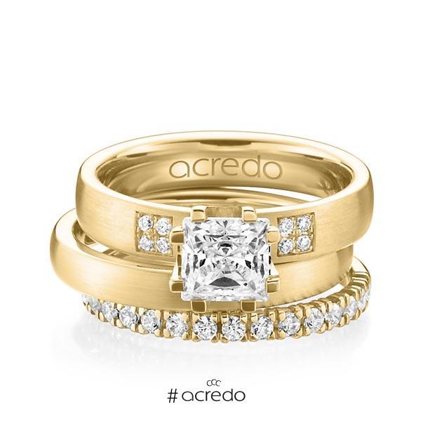 Triset in Gelbgold 585 mit 1 ct. + zus. 0,684 ct. Prinzess-Diamant & Brillant tw, vs tw, si von acredo