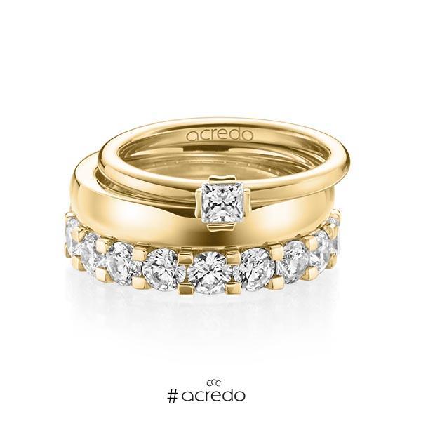 Triset in Gelbgold 750 mit zus. 3,29 ct. Prinzess-Diamant & Brillant tw, si tw, vs von acredo