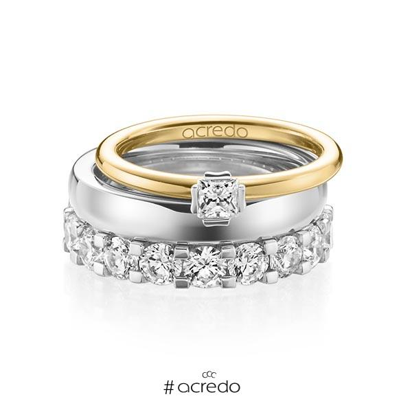 Triset in Gelbgold 750 Weißgold 750 mit zus. 3,29 ct. Prinzess-Diamant & Brillant tw, si tw, vs von acredo