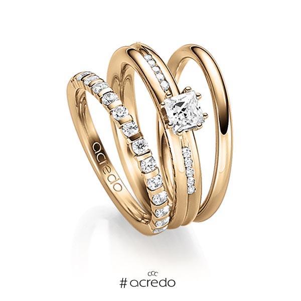 Triset in Roségold 585 halbausgefasst mit zus. 0,63 ct. Brillant & Prinzess-Diamant tw, vs tw, si von acredo