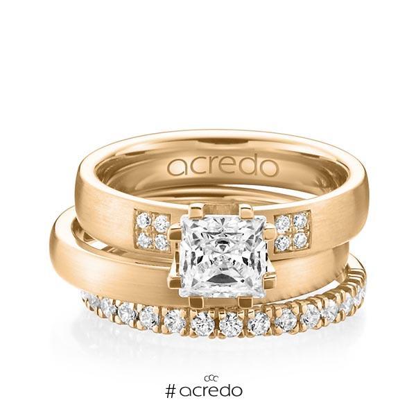 Triset in Roségold 585 mit 1 ct. + zus. 0,684 ct. Prinzess-Diamant & Brillant tw, vs tw, si von acredo