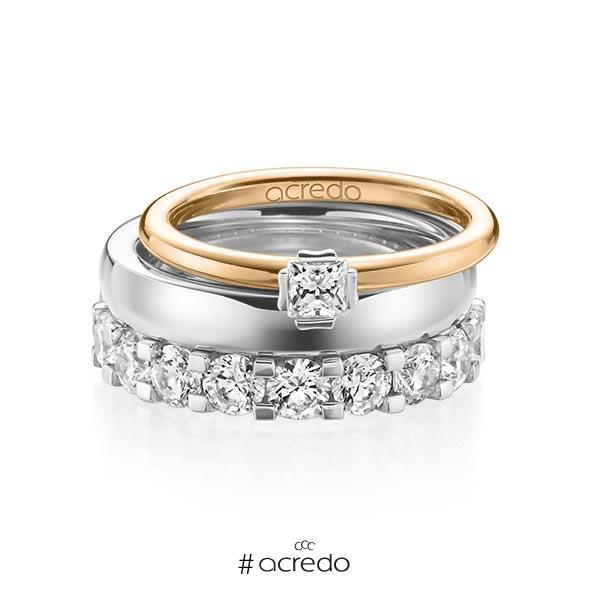 Triset in Roségold 585 Weißgold 585 mit zus. 3,29 ct. Prinzess-Diamant & Brillant tw, si tw, vs von acredo