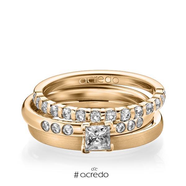 Triset in Roségold 750 halbausgefasst mit 0,4 ct. + zus. 0,42 ct. Brillant & Prinzess-Diamant tw, vs tw, si von acredo