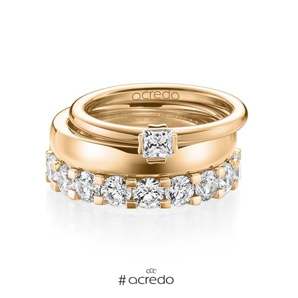 Triset in Roségold 750 mit zus. 3,29 ct. Prinzess-Diamant & Brillant tw, si tw, vs von acredo