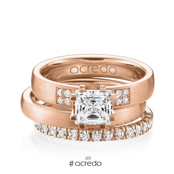 Triset in Rotgold 585 mit 1 ct. + zus. 0,684 ct. Prinzess-Diamant & Brillant tw, vs tw, si von acredo