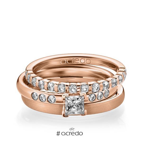 Triset in Rotgold 750 halbausgefasst mit 0,4 ct. + zus. 0,42 ct. Brillant & Prinzess-Diamant tw, vs tw, si von acredo
