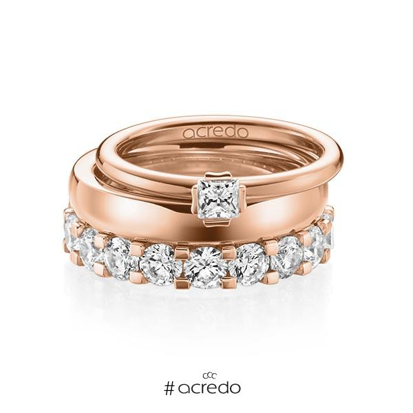 Triset in Rotgold 750 mit zus. 3,29 ct. Prinzess-Diamant & Brillant tw, si tw, vs von acredo
