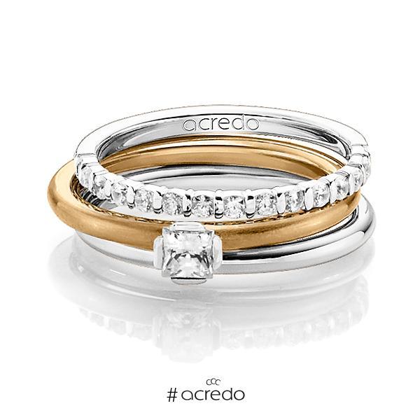 Triset in Weißgold 585 halbausgefasst mit zus. 0,55 ct. Brillant & Prinzess-Diamant tw, vs tw, si von acredo