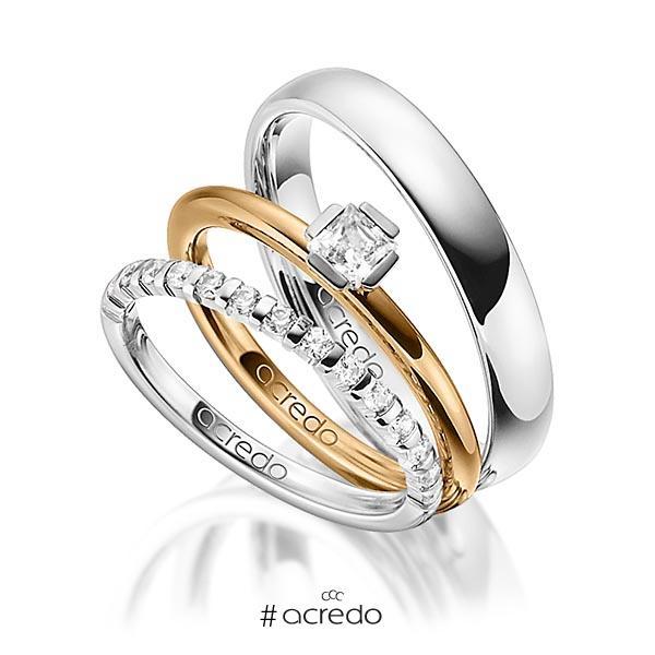 Triset in Weißgold 585 halbausgefasst mit zus. 0,67 ct. Brillant & Prinzess-Diamant tw, vs tw, si von acredo