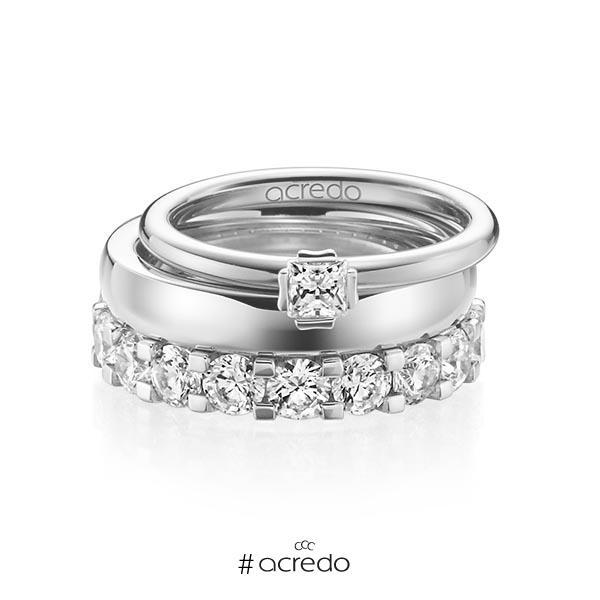 Triset in Weißgold 585 mit zus. 3,29 ct. Prinzess-Diamant & Brillant tw, si tw, vs von acredo