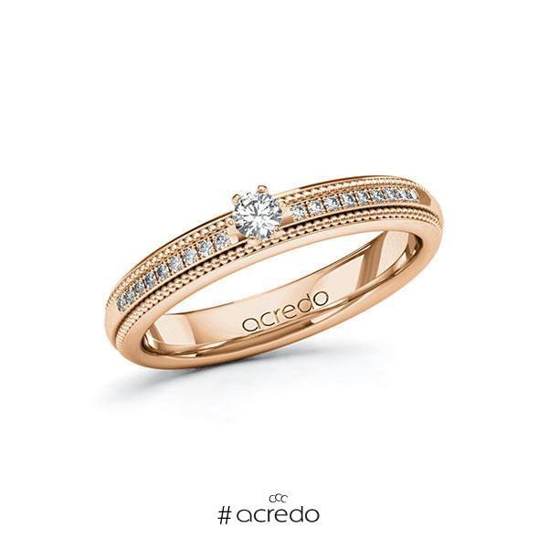 Verlobungsring Diamantring 0,19 ct. tw, si Rotgold 585