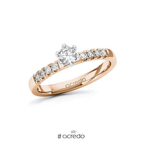 Verlobungsring Diamantring 0,41 ct. tw, si Rotgold 585 Weißgold 585