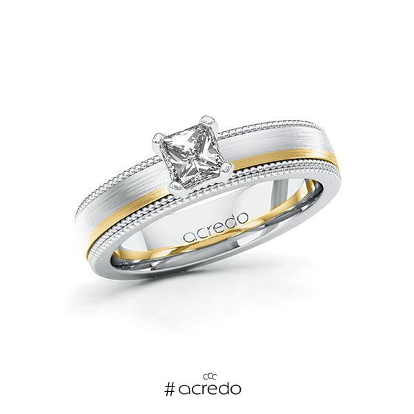 Verlobungsring Diamantring 0,5 ct. G VS Weißgold 585 Gelbgold 585