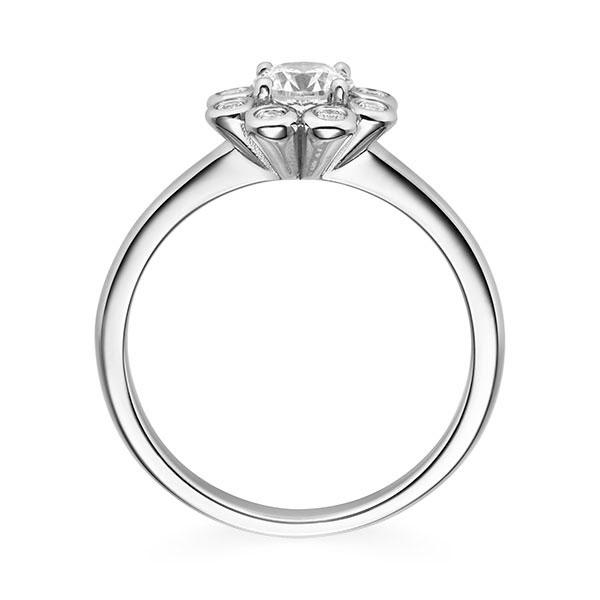 Diamantring Sunshine 4 Krappen mit Halo im Zargenfassung , Breite: 2,60, Höhe: 1,50