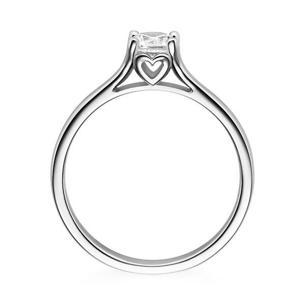 Diamantring Cordial 4 Krappen mit Herzdetail, Breite: 2,20, Höhe: 1,40