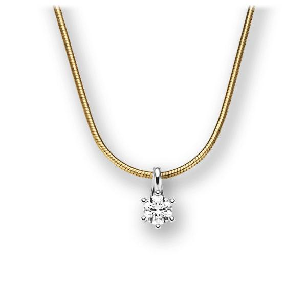Diamant-Collier Gelbgold 585 Weißgold 585 mit 0,15 ct. tw, vs