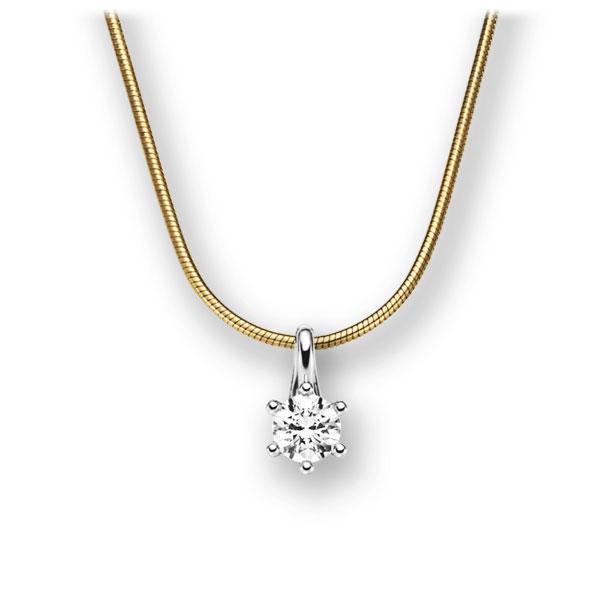 Diamant-Collier Gelbgold 585 Weißgold 585 mit 0,25 ct. tw, vs