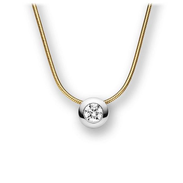 Diamant-Collier Gelbgold 585 Weißgold 585 mit 0,3 ct. G VS