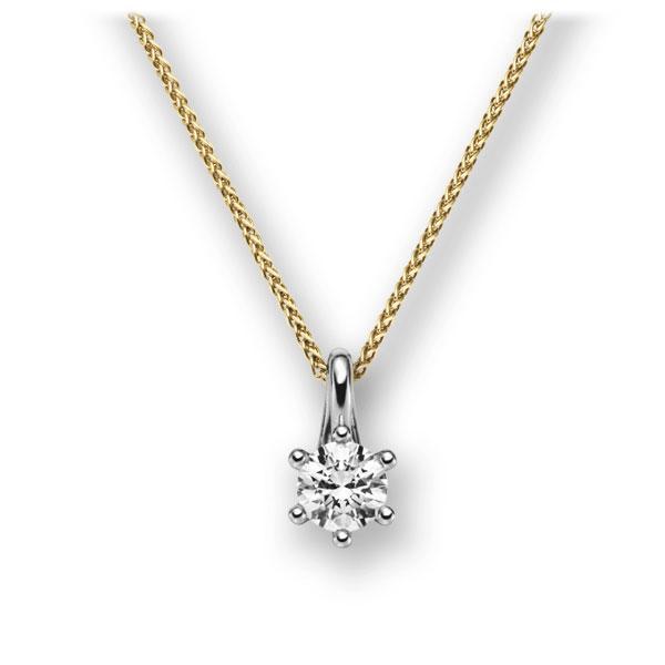 Diamant-Collier Gelbgold 585 Weißgold 585 mit 0,4 ct. G VS