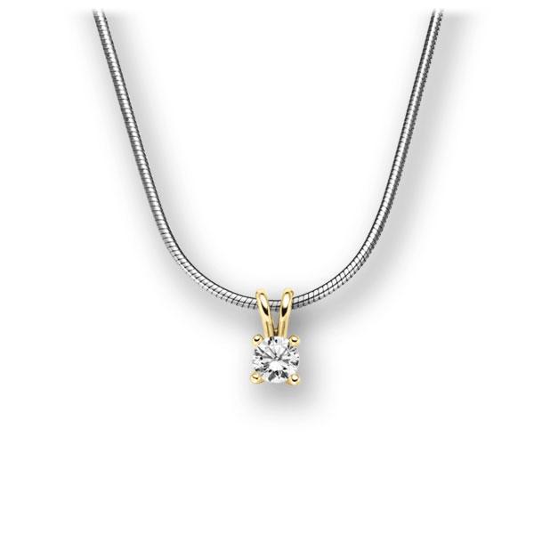 Diamant-Collier Weißgold 585 Gelbgold 585 mit 0,15 ct. tw, vs
