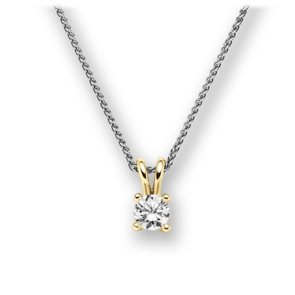 Diamant-Collier Weißgold 585 Gelbgold 585 mit 0,4 ct. G VS