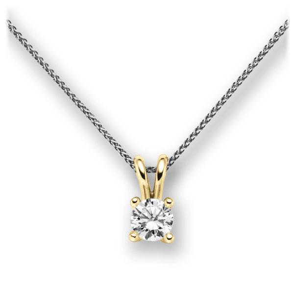Diamant-Collier Weißgold 585 Gelbgold 585 mit 0,7 ct. G VS