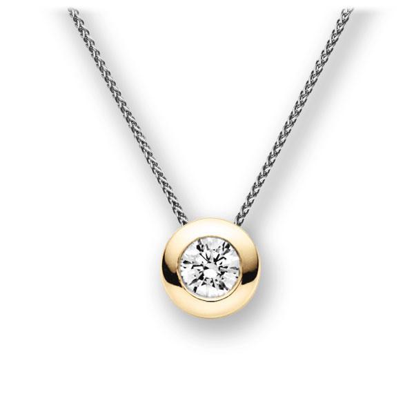 Diamant-Collier Weißgold 585 Gelbgold 585 mit 1 ct. G VS