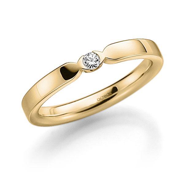 Memoire-Ring Gelbgold 585 mit 0,06 ct. tw, vs
