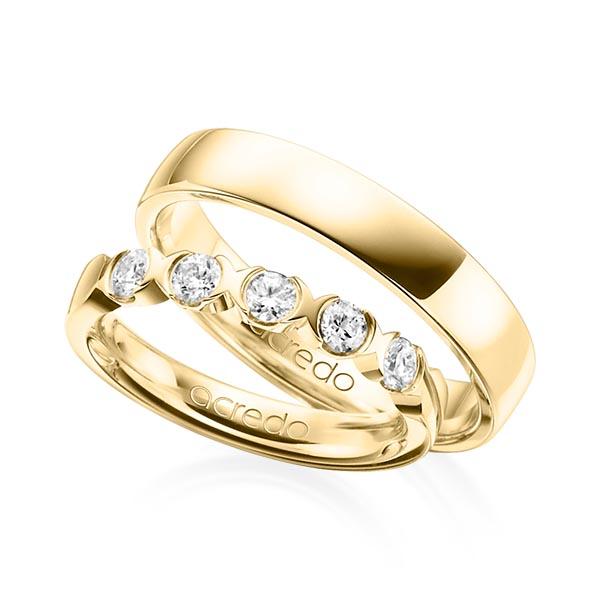 Memoire-Ring Gelbgold 585 mit 0,5 ct. tw, vs
