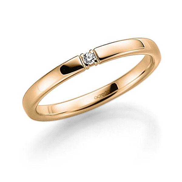 Memoire-Ring Roségold 585 mit 0,03 ct. tw, vs