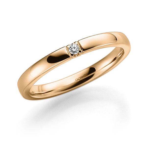 Memoire-Ring Roségold 585 mit 0,04 ct. tw, vs