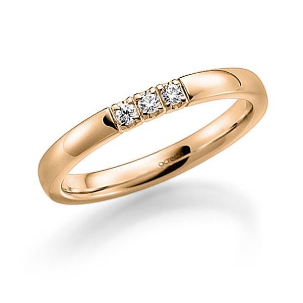 Memoire-Ring Roségold 585 mit 0,09 ct. tw, vs