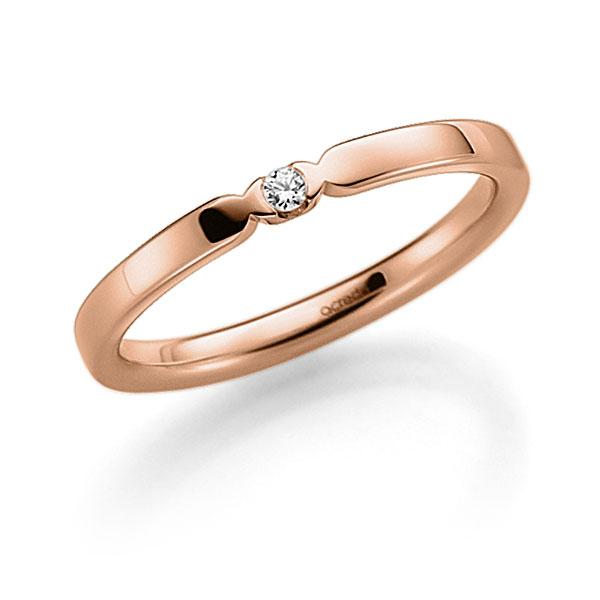 Memoire-Ring Rotgold 585 mit 0,02 ct. tw, vs